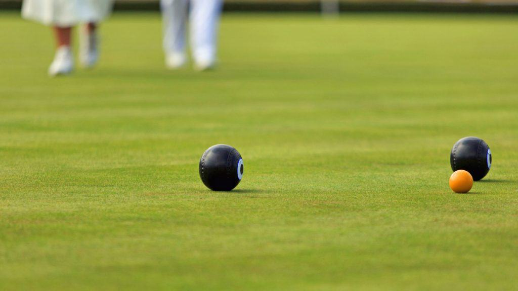 Bowls with jack at Croydn Bowling Club