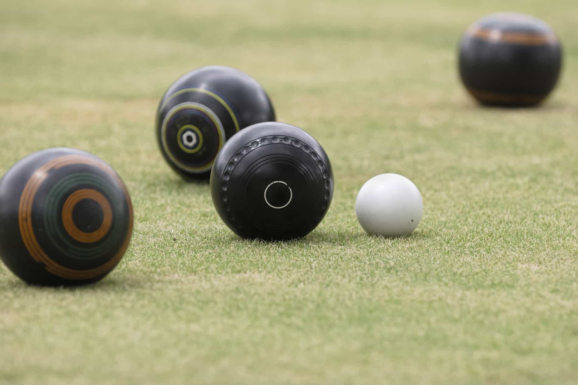 Close Up of Bowls and Jack at Croydon Bowling Club